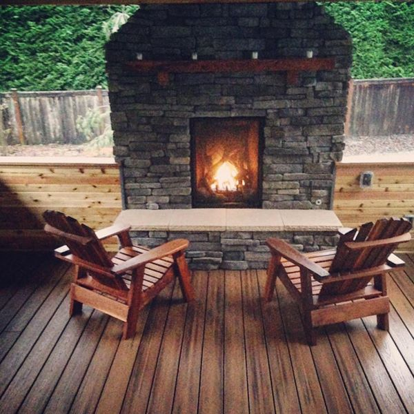 Deck Addition with Roof, Fireplace, and Outdoor Kitchen
